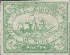 EGITTO - EGYPT-  EGYPTE,1868 Sail Ship,Canale Di Suez, SUEZ CHANNEL,Canal Maritime,5C Green,Original Stamp,Gum,hinged - 1866-1914 Khedivate Of Egypt