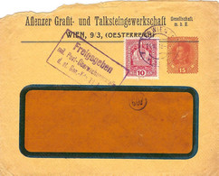 "Enveloppe Affranchie à 10 + 15 Heller. Obl. à Wien 11/07/1918 + Tamponner ""Freigegeben"". - Covers & Documents"