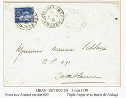 DAGUIN LIBAN BEYROUTH Poste Aux Armées Secteur 600  5 Mai 1938  Triple Frappe Avec Traces De Foulages - Lebanon
