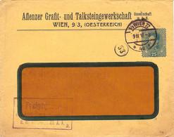 """Enveloppe Affranchie à 25 Heller. Obl. Tampon étoile à Wien 09/04/1918 + Tamponner """"Freigegeben"""". - Covers & Documents"""