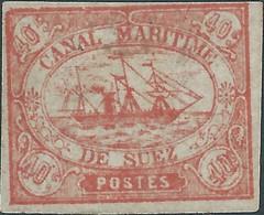 EGITTO - EGYPT-  EGYPTE,1868 Sail Ship,Canale Di Suez, SUEZ CHANNEL,Canal Maritime,40.C Pink,Mint - 1866-1914 Khedivate Of Egypt