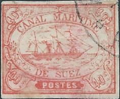 EGITTO - EGYPT-  EGYPTE,1868 Sail Ship,Canale Di Suez, SUEZ CHANNEL,Canal Maritime,40.C Pink,Obliterated - 1866-1914 Khedivate Of Egypt
