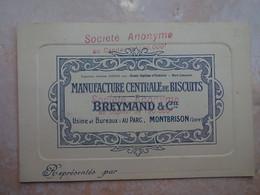 Carte De Visite 42 MONTRBRISON Manufacture Centrale De Biscuits BREYMAND - Montbrison