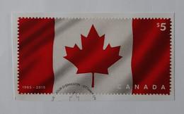 50 Ans Du Drapeau Canadien  -  Timbre En Tissu Et Adhésif  -  Provenant Du Bloc-feuillet N° 178  -  Oblitéré - Blocks & Sheetlets
