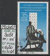 """1986 - DDR - SM """"25 Jahre Sachsenhausen"""" 35 Pfg. Mehrf - O Gestempelt - S.Scan (3051o 01-03    Ddr) - Gebraucht"""
