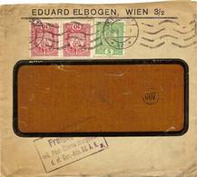 """Enveloppe Affranchie à 10 + 10 + 5 Heller. Obl. Tampon étoile à Wien 06/05/1918 + Tamponner """"Freigegeben"""". - Covers & Documents"""