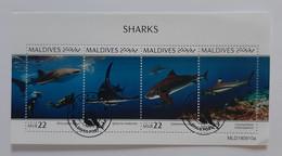 N° 7257 à 7260      Les Requins  -  Oblitérés - Maldiven (1965-...)
