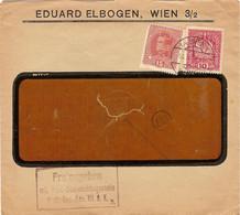 """Enveloppe Affranchie à 15 + 10 Heller. Obl. Tampon étoile à Wien 18/02/1918 + Tamponner """"Freigegeben"""". - Covers & Documents"""