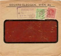 """Enveloppe Affranchie à 5 + 15 Heller. Obl. Tampon étoile à Wien 16/03/1918 + Tamponner """"Freigegeben"""". - Covers & Documents"""