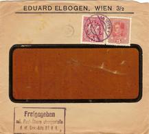 """Enveloppe Affranchie à 10 + 15 Heller. Obl. Tampon étoile à Wien 14/06/1918 + Tamponner """"Freigegeben"""". - Covers & Documents"""