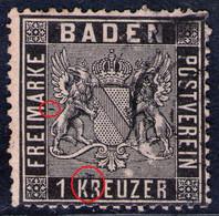 Fünfring Auf 1 Kreuzer Schwarz - Baden Nr. 9 D Mit Druckzufälligkeiten - Baden