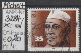 """1989 - DDR - SM """"100. Geburtstag V. D. Nehru"""" 35 Pfg. Mehrf - O Gestempelt - S.Scan (3284o     Ddr) - Gebraucht"""