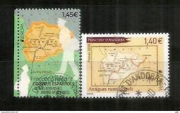 ANDORRE. EUROPA 2020. Anciennes Routes Postales En Andorre ,2 Timbres Oblitérés Andorre, 1 ère Qualité - Gebraucht