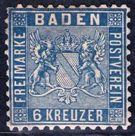 6 Kreuzer Blau - Baden Nr. 14 A - Ungebraucht Mit Gummierung - Baden