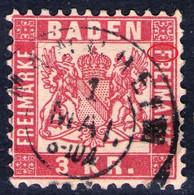 Mannheim Auf 3 Kreuzer Karminrot - Baden Nr. 24 Mit Abart - Kabinett - Baden