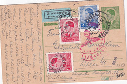 YOUGOSLAVIE 1941   ENTIER POSTAL/GANZSACHE/POSTAL STATIONERY CARTE PAR AVION CENSUREE DE LJUBLJANA - Ganzsachen