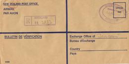 42167. Carta Aerea Certificada AUCKLAND (New Zealand) 1986. Service Oficial - Covers & Documents