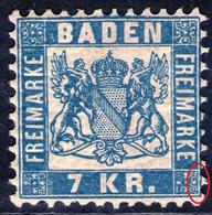 7 Kreuzer Blau - Baden Nr. 25 A - Postfrisch Mit Abart - Baden