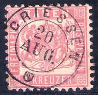 Später Postort GRIESSEN 20. AUG. Auf 3 Kreuzer Rosarot - Baden Nr. 18 - Kabinett - Baden