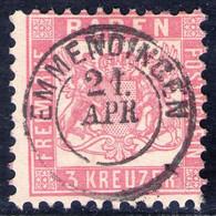 EMMENDINGEN 21.APR. Auf 3 Kreuzer Rosarot - Baden Nr. 18 - Kabinett - Baden