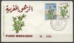 MAROC 1980 FDC Enveloppe Oblitération 1er JOUR Y&T N° 868 Et 869 FLORE FLEUR - Marokko (1956-...)
