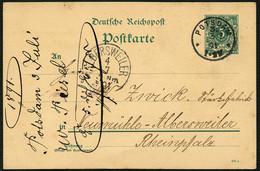 DT.REICH 1891, GS P 28, SAUBERER K1 POTSDAM 3.  + AK ALBERSWEILER, TOPP! - Briefe U. Dokumente