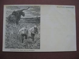 CPA ILLUSTRATEUR GRAVURE Journal Des Voyages VINTRAUT Zier CHASSE A L'ELEPHANT Poursuivis... - Hunting