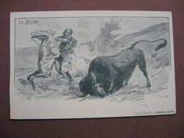 CPA ILLUSTRATEUR GRAVURE Journal Des Voyages VINTRAUT Moreno CHASSE A CHEVAL AU BISON - Hunting