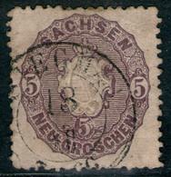 SIEGMAR 18. XII Auf 5 Ngr. Grauviolett - Sachsen Nr. 19 B Mit Druckzufall - Sachsen