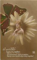 Themes Div Ref GG726- Insectes -papillons- Insecte Papillon - Surrealisme -medaillon Femme Fleur Et Papillon - - Insects
