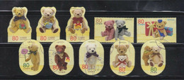JAPAN 2012 AUTUMN GREETING TEDDY BEAR 80 YEN COMP. SET OF 10 STAMPS IN FINE USED (**) - Used Stamps