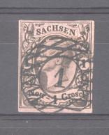 Allemagne  -  Saxe  :  Mi  9 C  (o)   Hellrotbraun ,  Double Signature - Sachsen