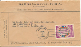 Dominicana Air Mail Cover Sent To USA 1-4-1941 Single Franked Topic Stamp FLAG MAP - Dominican Republic