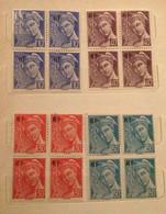 Four Blocs Of 4 MNH Stamps FRANCE 1944 Mercure Surchargé RF - Unused Stamps