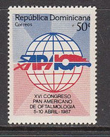 1988 Dominican Republic Ophthalmology Health Complete Set Of 1 MNH - Dominican Republic