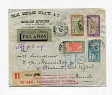 !!! 1ER COURRIER REGULIER AERIEN MADAGASCAR - EUROPE, LETTRE RECO PAR AVION DE TAMATAVE DU 27/7/1934 POUR MARSEILLE - Covers & Documents