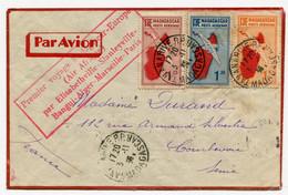 !!! 1ER VOYAGE MADAGASCAR - EUROPE PAR AIR AFRIQUE, LETTRE PAR AVION DE TANANARIVE POUR COURBEVOIE DU 3/11/1936 - Covers & Documents