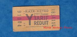 Ticket Ancien De Métro RATP Tarif Réduit - Y - 2eme Classe - 91004 - RER ? Paris - Unclassified