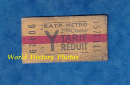 Ticket Ancien De Métro RATP Tarif Réduit - Y - 2eme Classe - 90429 - RER ? Paris Métropolitain - Unclassified