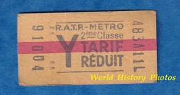 Ticket Ancien De Métro RATP Tarif Réduit - Y - 2eme Classe - 91008 - RER ? Paris Métropolitain - Unclassified