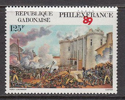1988 Gabon Gabonaise French Revolution Bastille Philexfrance Complete Set Of 1 MNH - Gabon (1960-...)