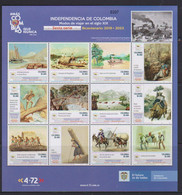 Colombia (2021)  - MS -   /  History - Bicentury Independence (6) - Military - Horses - Paintings - Ships - Trains - Colombia