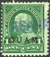 United States Possession Of Guam 1899, 1 Cent Green Benjamin Franklin Overprinted Issue Mi.# 1, Used - Guam