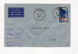 !!! LETTRE PAR AVION DE 1943 DE TANANARIVE POUR BANGUI, CACHET FRANCE LIBRE 1ERE LIAISON AERIENNE MADAGASCAR - AEF LIBRE - Covers & Documents