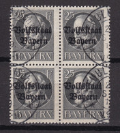 Bayern - 1919 - Michel Nr. 122 A K2 Viererblock - Gestempelt - 30 Euro - Bayern