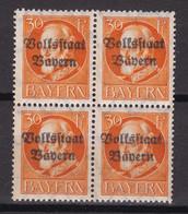 Bayern - 1919 - Michel Nr. 123 A Viererblock - Postfrisch - Bayern
