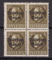 Bayern - 1919 - Michel Nr. 124 A Viererblock - Postfrisch/Ungebr. - Bayern