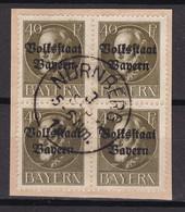 Bayern - 1919 - Michel Nr. 124 A K1 Viererblock - Gestempelt - 30 Euro - Bayern