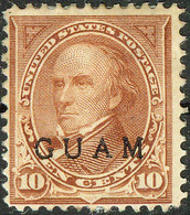 United States Possession Of Guam 1899, 10 Cents Brown Daniel Webster Overprinted Issue Mi.# 8, MH - Guam
