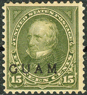 United States Possession Of Guam 1899, 15 Cents Green Henry Clay Overprinted Issue Mi.# 9, MH Signed Kruger - Guam